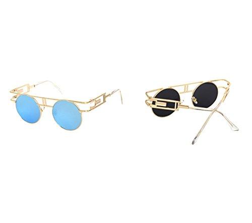 Oro reflexivo redondo clásico Azul Gafas UV400 vendimia sol colorido de de redondas marco gótico la del nXY6ZBqwY