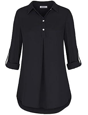 Moqivgi Women Chiffon Blouse Roll-up Long Sleeve V Neck Collared Business Casual Top Shirts