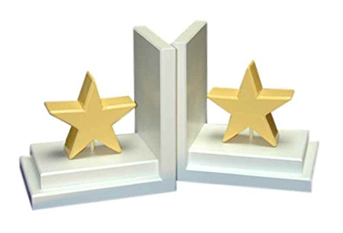 Pastel Star Bookends in White Base (Yellow)