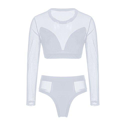 Diamondo Sexy Women Gauze Long Sleeve High Waist Bikini Swimwear Swimsuit (White, Asian -