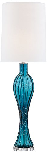 Body Art Glass (Possini Euro Tyra Blue Fluted Art Glass Console Table Lamp)