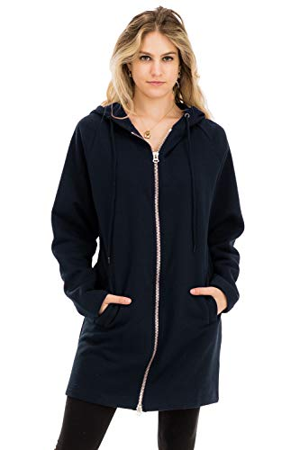 Casual Two Way Metal Zippers Hoodie Sweat Jacket Navy M/L