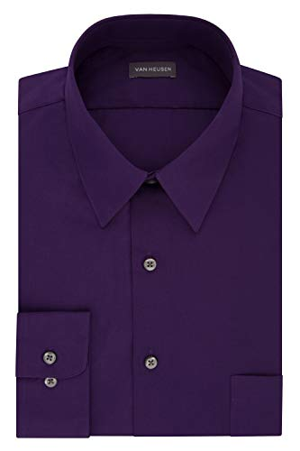 Van Heusen Men's Dress Shirt Fitted Poplin Solid, Purple Velvet, 16