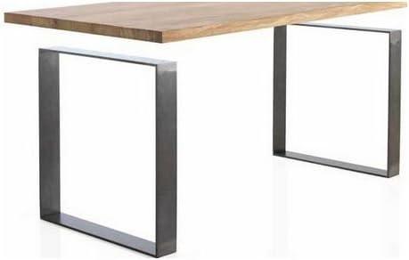 Mesa de comedor OAK 160 cm - ROBLE MACIZO - Patas Acero: Amazon.es ...