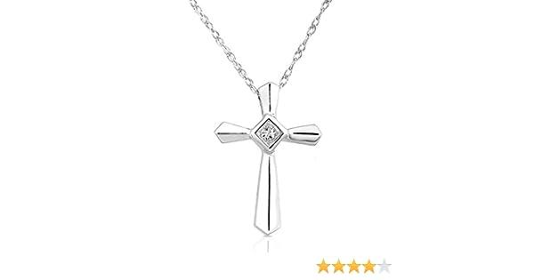 14K White Gold Small Cross Flower Pendant