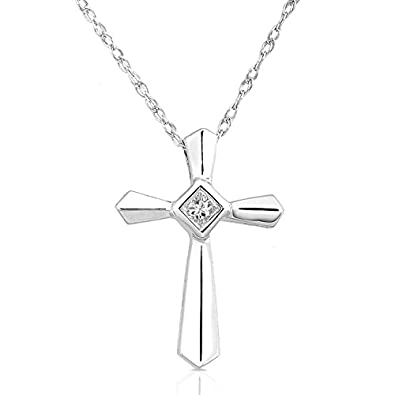 Amazon diamond cross pendant in 14k white gold pendant diamond cross pendant in 14k white gold aloadofball Choice Image