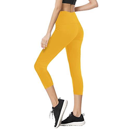 - TNNZEET High Waisted Tummy Control Soft Plus Size & One Size Capri Leggings Elastic Opaque Slim Yellow