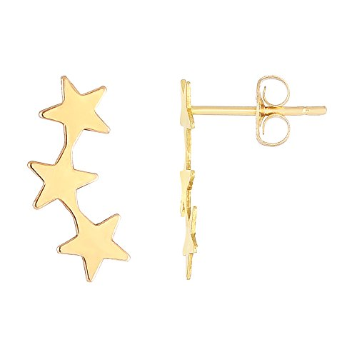 (14K Yellow Gold 3 Star Climber Stud Earrings)