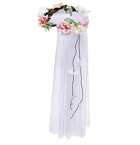 Women Flower Crown Wedding Bridal Headpiece Party Veil Hair Wreath Floral Headband Photo Prop (Adjustable, White)