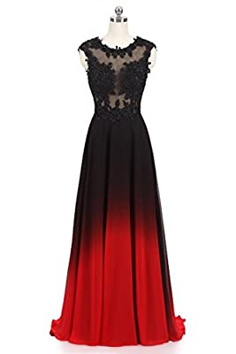 Dydsz Women's Evening Party Dresses Prom Dress Long Gradient Color Ombre Beaded D224
