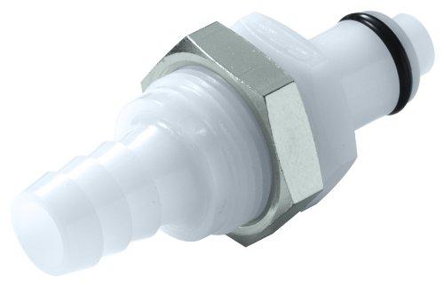 Colder PLC42006 Acetal Tube Fitting, Insert, Straight Thru, Panel Mount, 1/4