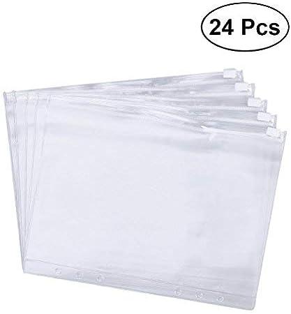TOYMYTOY A5 Ring Binder Pockets,Polypropylene Clear Document Folder Zipper Binder Pocket,Pack of 24