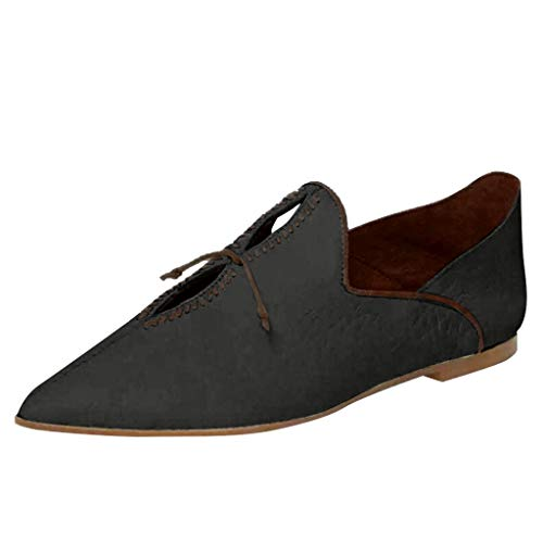 JESPER Women Ladies Retro Pointed Toe Fur Leather Casual Flat Trendy Slip On Loafers Shoes Mule Slides Black