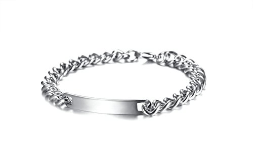 Aokarry Jewelry - Men Stainless Steel Bracelet, Bangle Bracelet High Polish Tag Silver 22.5 cm