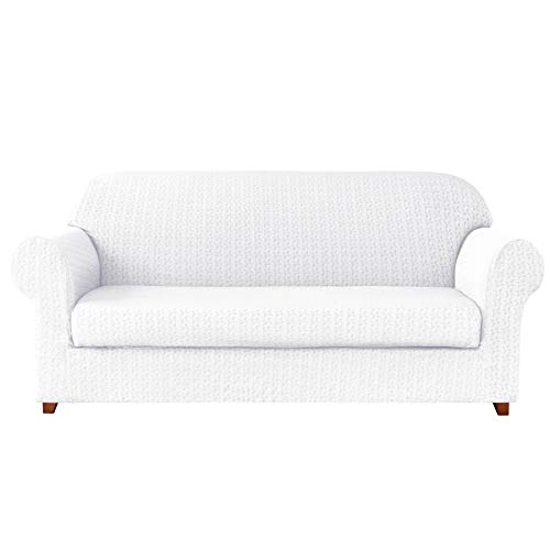 Subrtex 2-Piece High Stretch Sofa Slipcovers Durable Soft Jacquard Embossed Fabric, Machine Washable Sofa Covers, 3 Seater (Sofa, White Embossed)