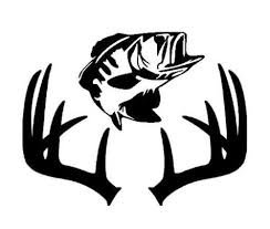 Fish Deer Antlers Fishing Hunting Vinyl Decal Sticker|BLACK|Cars Trucks SUV Laptops Tool Box Wall Art| 7