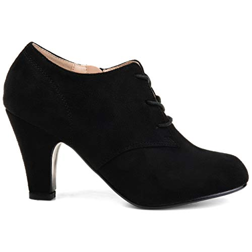 (Brinley Co. Womens Vintage Round Toe High Heel Lace-up Faux Suede Booties Black, 8.5 Wide Width US)