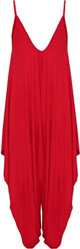 Femmes Salopette Harem Haut Femmes Combinaison Lagenlook 36 Gilet Cami WearAll Hauts Tailles Lacets 44 Robe Rouge PRwxqBaB