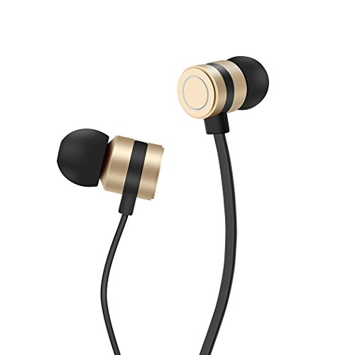 Earbuds, HokoAcc In-Ear Headphones Noise Isolation Headsets Heavy Bass Earphones with Microphone for iPhone Samsung iPad and Most Android Phones (Gold)