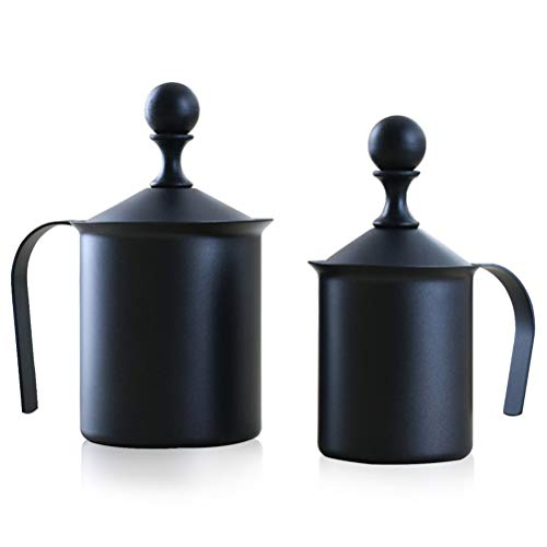 WTTHCC Prensa Doble De Acero Inoxidable Cafetera 400Cc / 800Cc Crema De Ordeño De Ordeño Teapot Dispositivo De Leche Kettle...