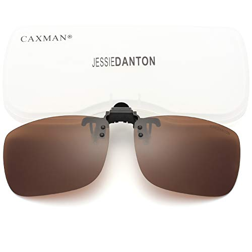 CAXMAN Polarized Clip On Sunglasses Over Prescription Glasses for Men Women UV Protection Flip Up Brown Lens Extra ()