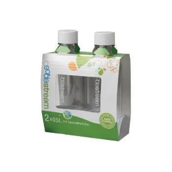 sodastream 1 2 liter carbonating bottle white 2 pack soda maker bottles kitchen. Black Bedroom Furniture Sets. Home Design Ideas