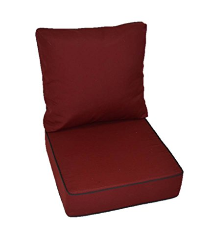 Sunbrella Burgundy / Maroon / Garnet Cushion With Black Piping / Cording  For Indoor / Outdoor