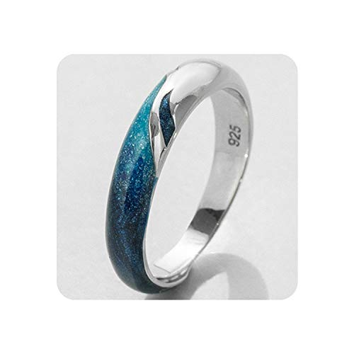 Encounter_meet Bright Shining River Emerald Rings s925 Silver Blue Romantic Jewelry Ring for Women Elegant,Big Ring