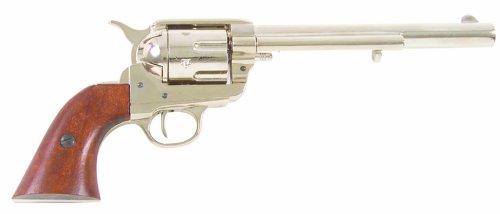 Denix Old West M1873 Cavalry Barrel Replica Revolver Non Firing Gun, Nickel