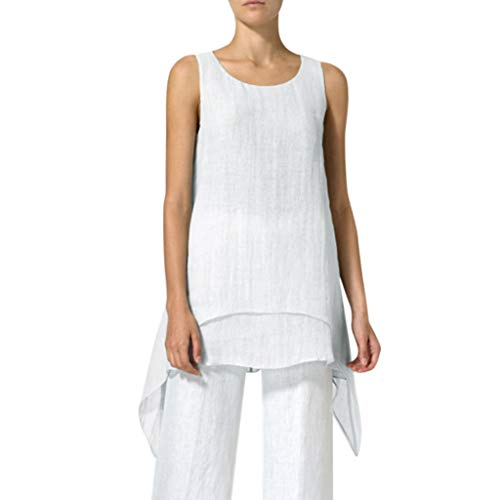 (Women's Sleeveless Linen Tank Top Double Layers Casual Blouse Tunic Asymmetrical O-Neck Shirt Amiley (X-Large, White))