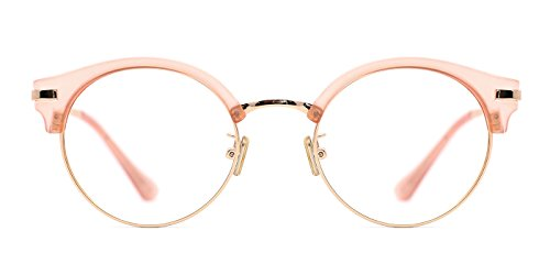 TIJN Gold-tone Translucent Frame Browline Round Eyeglasses for - Frames Glasses Browline