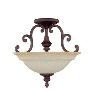 Capital Lighting 3071BB Semi-Flush Mount with Mist Scavo Glass Shades, Burnished Bronze - Scavo Mist Glass