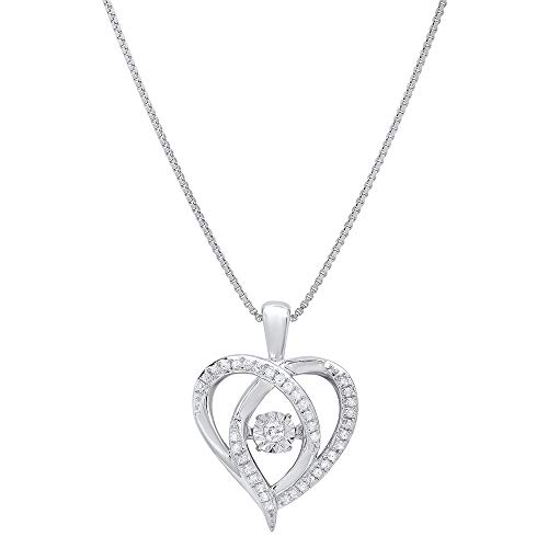 Multi Gemstone Heart Necklace - Sterling Silver Dancing Diamond Heart Pendant Necklace (1/6 cttw, I-J Color, I1-I2 Clarity), 18