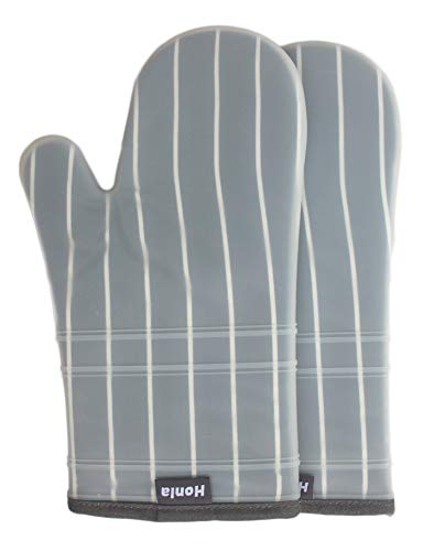 - Honla Silicone Oven Mitts with Stripe Fabric and Terry Cloths Lining,Heat Resistant to 500 F,1 Pair of Kitchen Oven Gloves for Cooking,Baking,Grilling,Barbecue Potholders,Gray