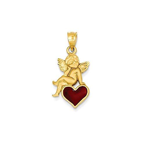 Angel Pendant Enameled (Jewels By Lux 14k Enameled Angel on Heart Pendant)