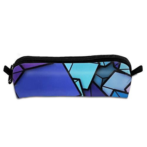 (Cute Children Pencil Case Coin Purse Pouch Stationery Pouch Makeup Bag Blue Cyan Purple Cubes)