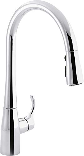 KOHLER K-596-CP Simplice High-Arch Single-Hole or Three-Hole, Single Handle, Pull-Down Sprayer Kitchen Faucet, Polished Chrome with 3-function Spray Head, Sweep Spray and Docking Spray Head ()
