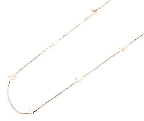 CL1331L - Sautoir Collier Fine Chaîne avec Charms Mini Papillons Acier 316L Or Rose - Mode Fantaisie