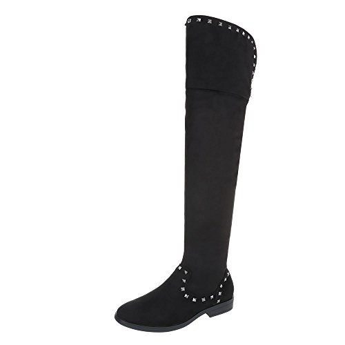Black Ital Heel Knee Boots Design Block Over Women's Boots 8wqBa8A