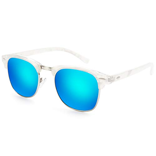 Livhò Polarized Sunglasses Women Men Semi Rimless Frame Retro Sunglasses (White Blue)