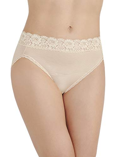 (Vanity Fair Women's Flattering Lace Hi Cut Panty 13280, Rose Beige, Medium/6)