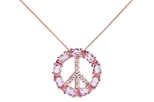 AlbertHern Pink Peace Sign Pendant Necklace 18kt Rose Gold 4.4grs 11 Diamonds Clarity Si1-Si2 9 -