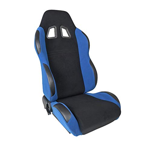 Scion Xb Racing Seats - [Passenger]Black/Light Blue Fabric Cloth Reclinable Sport Racing Seat w/Sliders