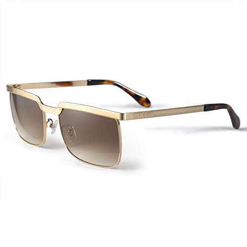 LORSEX Sunglasses for Men UV Protection Shades Vintage Retro Big Metal Frame Sun Glasses Driving Sport Fishing-59mm ()