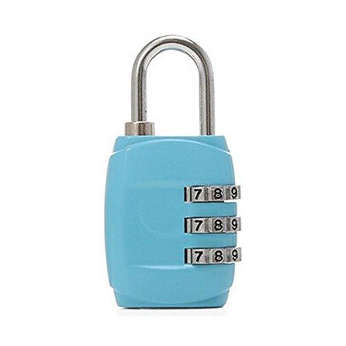 Mini 3 Digits Travel Luggage Suitcase Metal Coded Lock,Blue ()