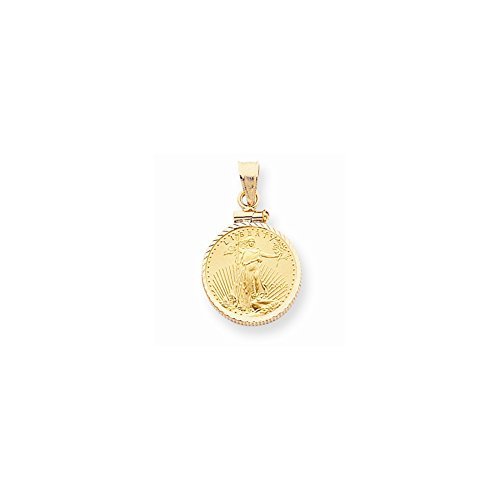 14k Yellow Gold Screw Top 1/10 oz American Eagle Coin Bezel Mounting