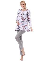 Niyatree Womens Spring Maternity Mammals Long Sleeve Floral Printed Pajama