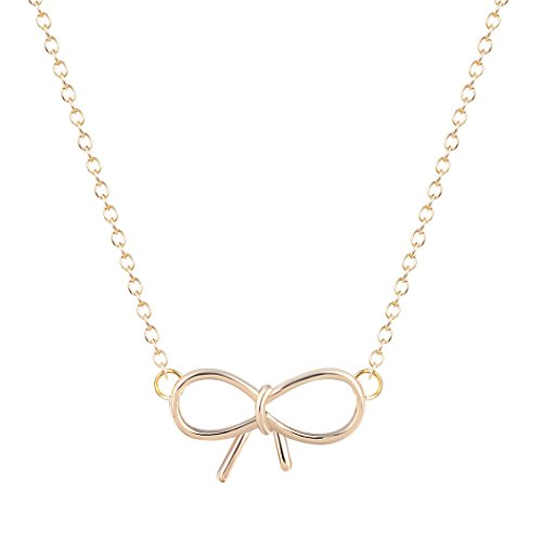 ONE A DAY Contracted Delicacy Bow-Knot Pendant Necklace Plating Alloy Jewelry Collares Gold ...