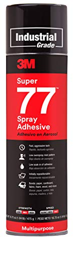 - 3M Super 77 Multipurpose Permanent Spray Adhesive Glue, Paper, Cardboard, Fabric, Plastic, Metal, Wood, 16.75 oz