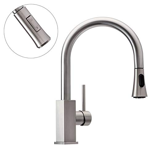 Wasserrhythm Stainless Steel Kitchen Sink Faucet with Pull Down/Out Sprayer Single Lever Brushed Nickel with Deck Plate (Nickel Deck Plate)